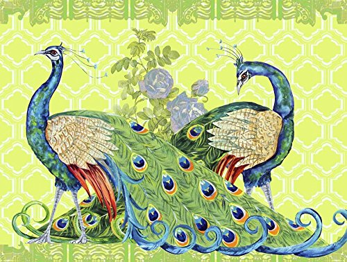 Peacock Parade by Jean Plout Art Print, 24 x 18 inches