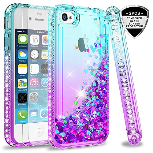 4e9d54bb5c5e06 LeYi iPhone 4S Case with Tempered Glass Screen Protector [2 Pack] for Girls  Women