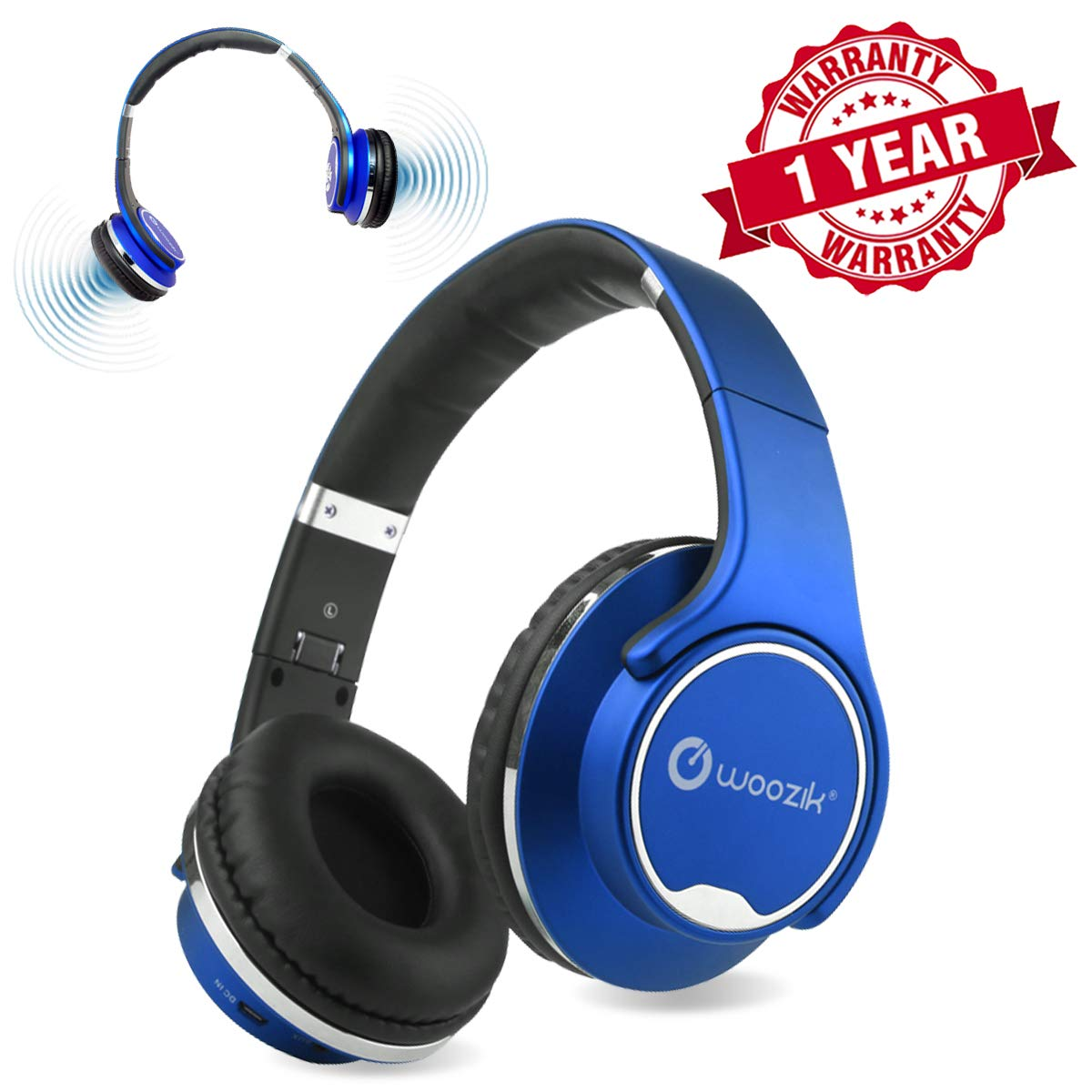 Bluetooth Headphones, Wireless Speakers, Woozik Twist Over Ear 2 in 1 Hybrid Headset with Built-in FM Radio, Micro-SD Card Slot, AUX, Volume Control, Mic (Blue)