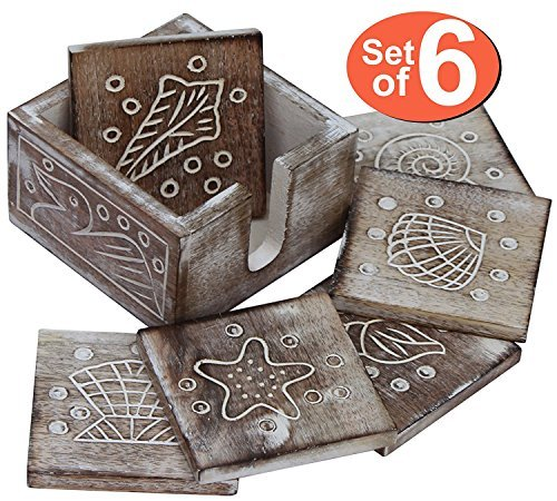 SouvNear Coastal Coasters for Drinks with Holder Decorative Set of 6 Christmas Farmhouse Kitchen Decor Accents for Home - Shabby Chic Wooden Handmade 4.5 Inch Beverage Table Coaster