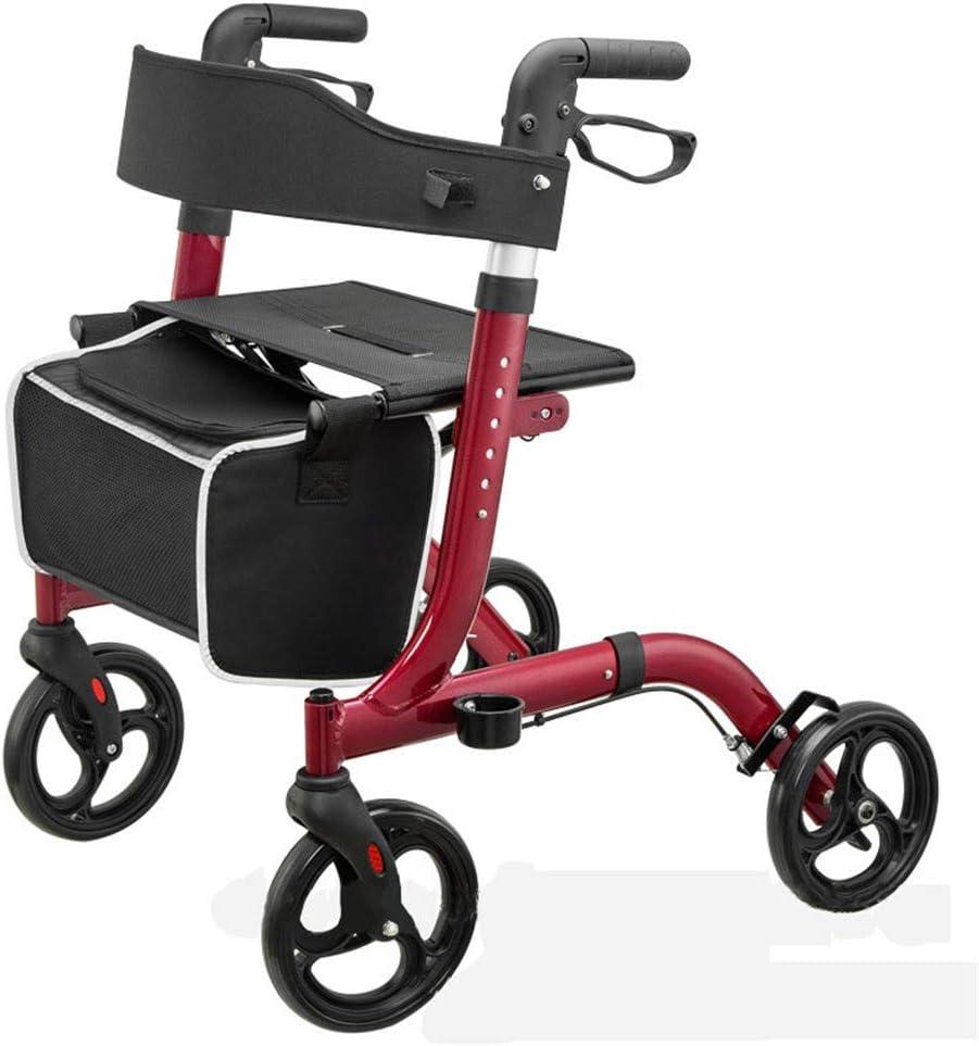 Lqdpdd Andador Plegable con Ruedas Delanteras, Walker Andador Especial Ultra Cómodo Asiento Ortopédico Removible Titular Y Sujeción De Vasos De Caña, Rojo