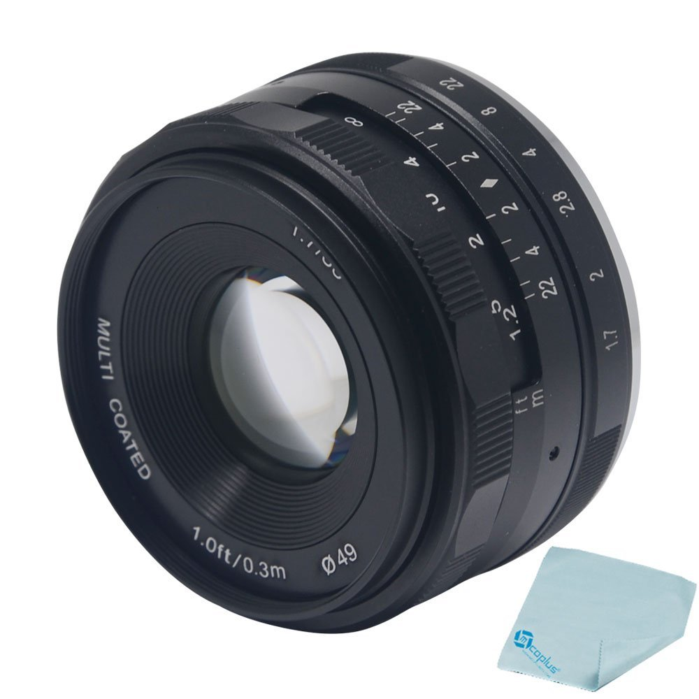Mcoplus Meike 35mm f/1.7 Manual Focus Prime Fixed Lens for Fujifilm X Mount Mirrorless APS-C Cameras X-A1 X-A2 X-E1 X-E2 X-E2S X-M1 X-T1 X-T10 X-Pro1 X-Pro2 + Mcoplus Cleaning Cloth