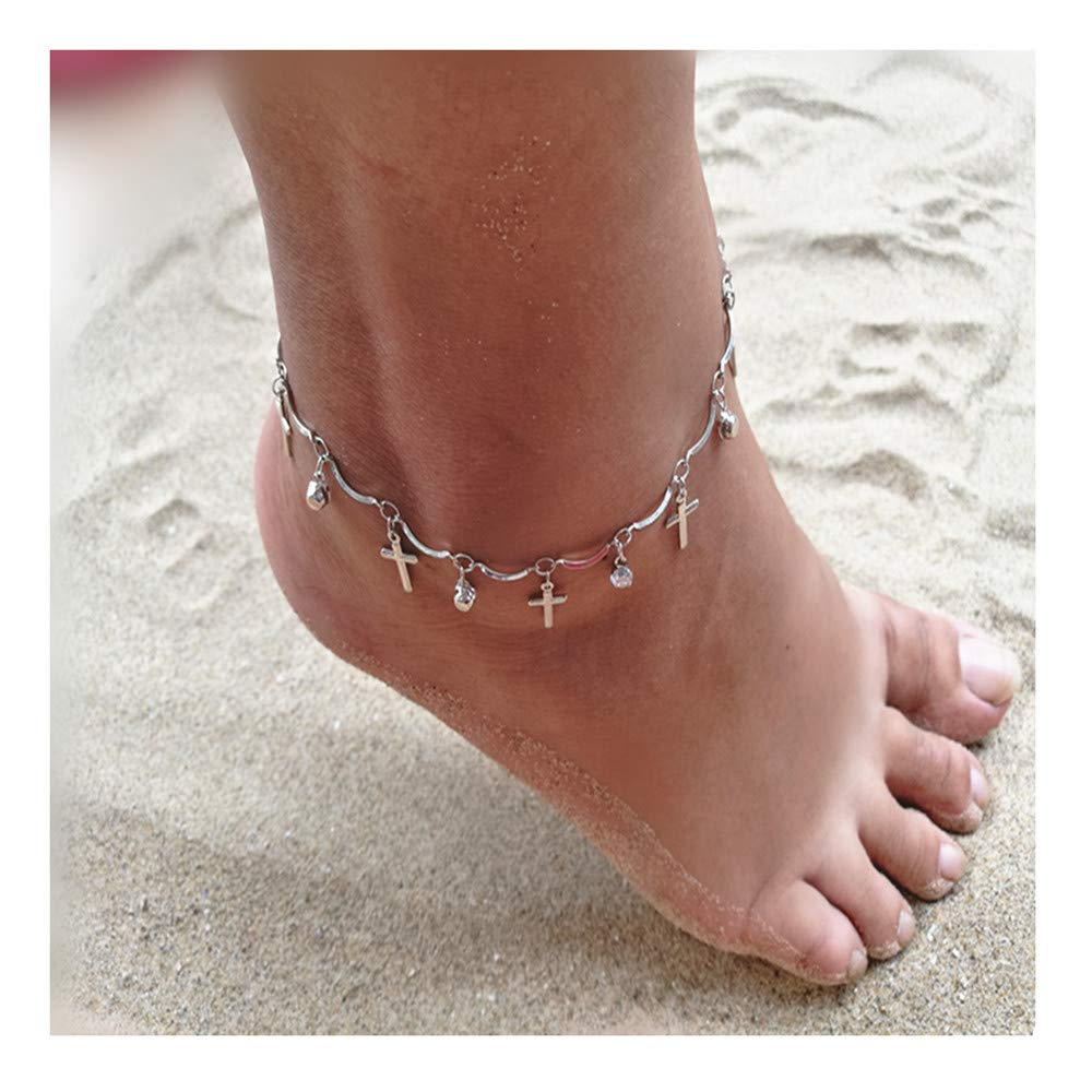 Little sheep Women Sterling Silver Cross Crystal Anklets Adjustable Foot Ankle Bracelet Charm Bracelet for Women Girls