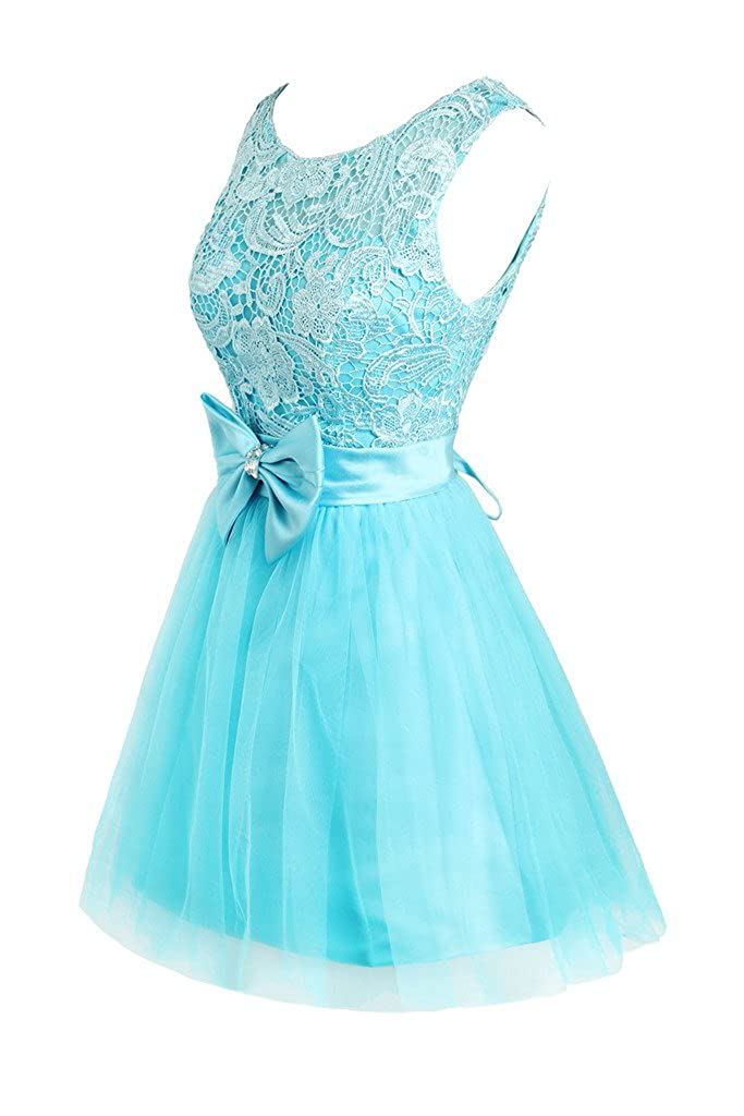 Ellames Short Prom Homecoming Dresses Lace Bridesmaid Dress with Bow Belt
