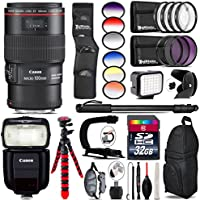 Canon EF 100mm f/2.8L Macro IS USM Lens + Canon Speedlite 430EX III-RT + 6PC Graduated Filter Kit + LED Kit + Video Stabilizing Handle + UV-CPL-FLD Filters + Macro Filter Kit - International Version