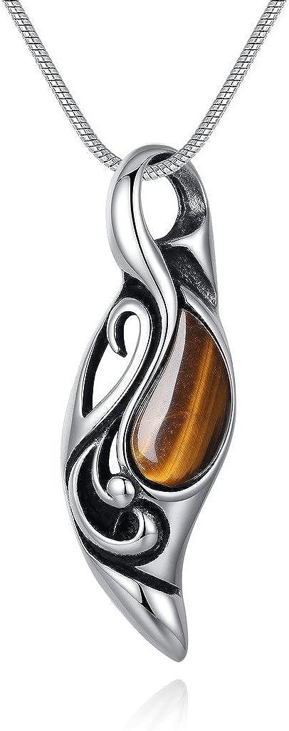 COAI® Collar de Colgante Ojos del Sol de Piedra Ojo de Tigre Cuenta Chakra 55cm