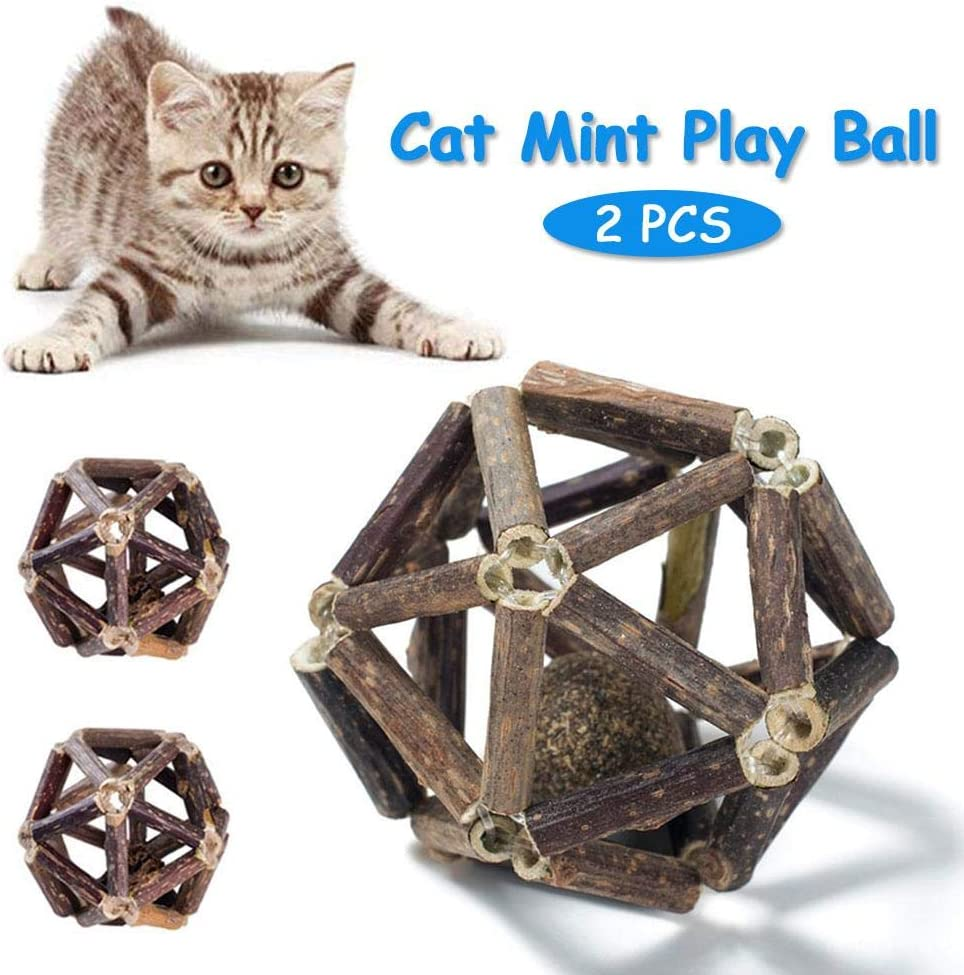 Kitty Playing Chewing,2 PCS Teeth Cleaning Catmint Toy for Cat Fitness Ball Handmade Wooden Rolling Cat Toys Interactive Cat Toys Kitten Catnip Balls