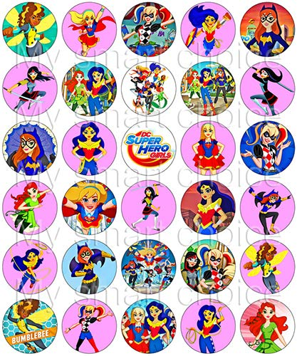 (30 x Edible Cupcake Toppers – DC Superhero Girls Pink Party Themed Collection of Edible Cake Decorations | Uncut Edible Prints on Wafer Sheet)