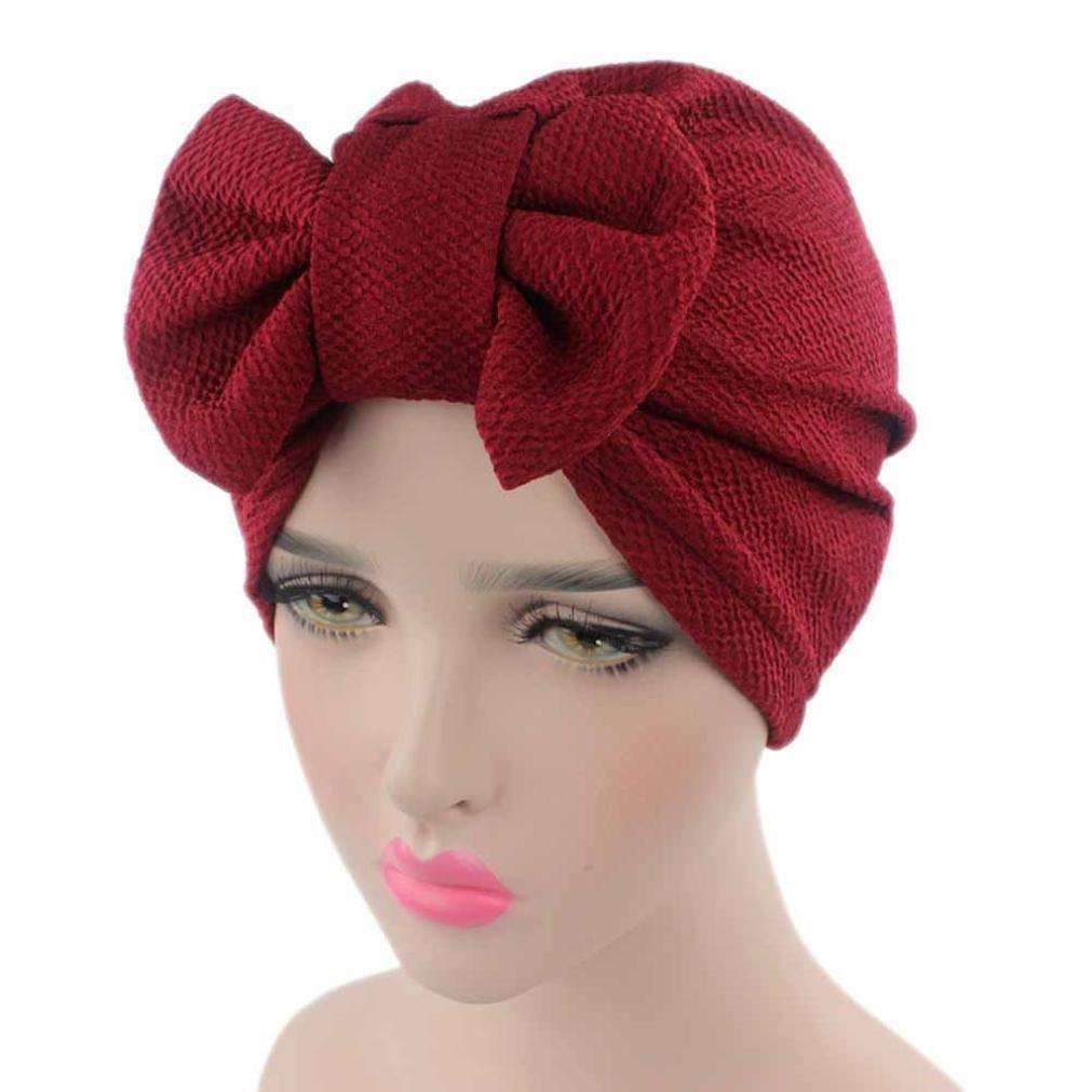Women Cancer Bow Chemo Hat Beanie Turban Head Wrap Cap Bowknot Muranba