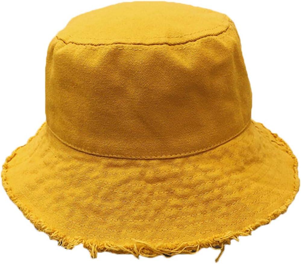 GHBOTTOM Damen Sonnenschutz Baumwolle Eimerhut Vintage Fransen breite Krempe Fischerhut
