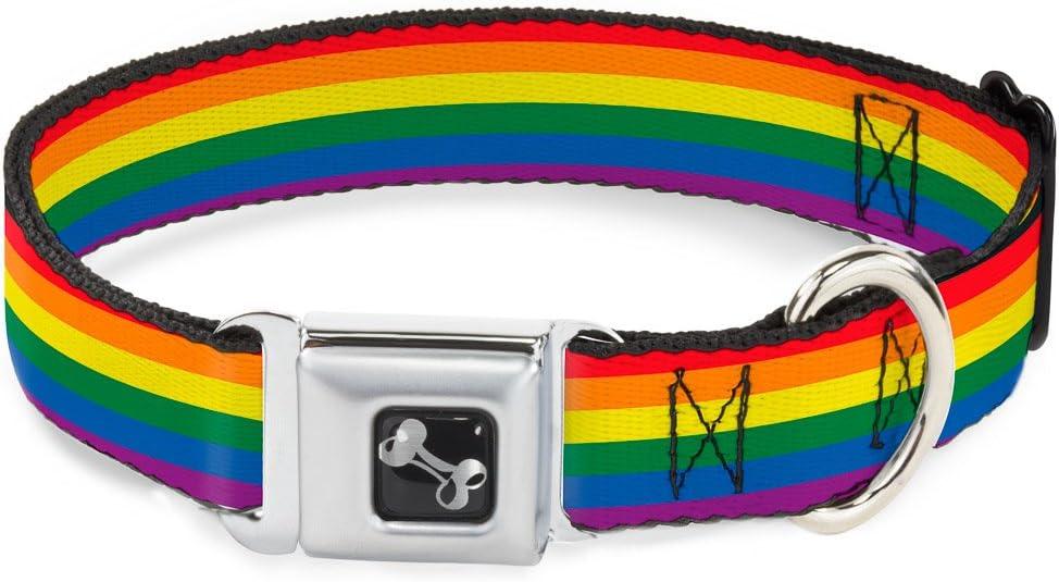 Buckle Down Bandera Orgullo Gay Arco Iris Collar de Perro Hueso, grande/15 – 26