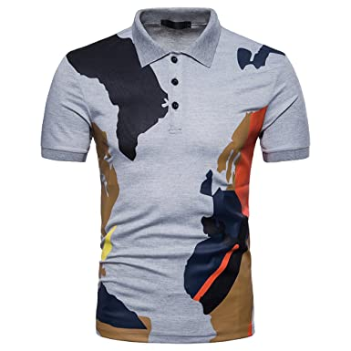 Mens Casual Fashion Printed Short-Sleeve T-Shirt Polo Graffiti ...