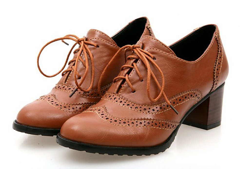 Aisun Women's Vintage Pointed Toe Dress Stacked Mid Heels Ankle Boots Lace Up Oxfords Shoes Brown 5 B(M) US