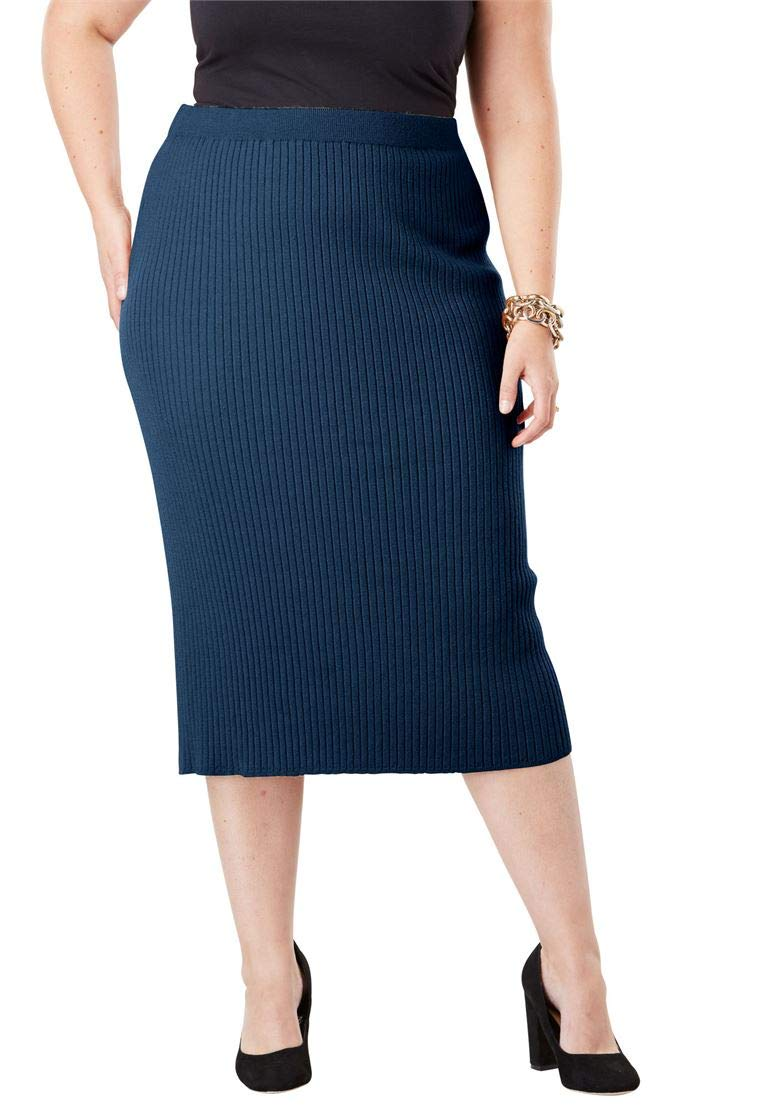 Jessica London Women's Plus Size Ribbed Sweater Skirt Twilight Teal,22/24