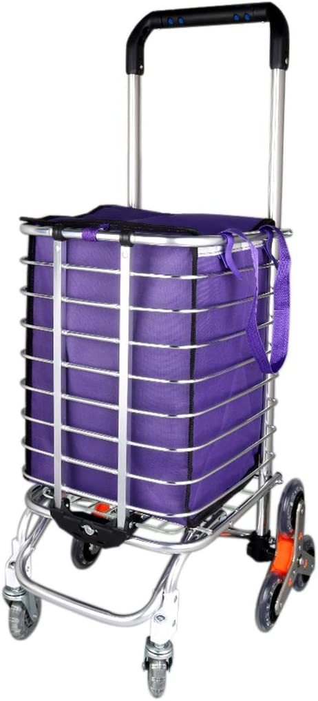 uxcell Folding Shopping Cart, Lightweight Stair Climb Multipurpose Aluminum Folding Utility Cart for Laundry, Shopping, Grocery, Transport Up to 110 Pounds, Eight Wheel Reinforcement