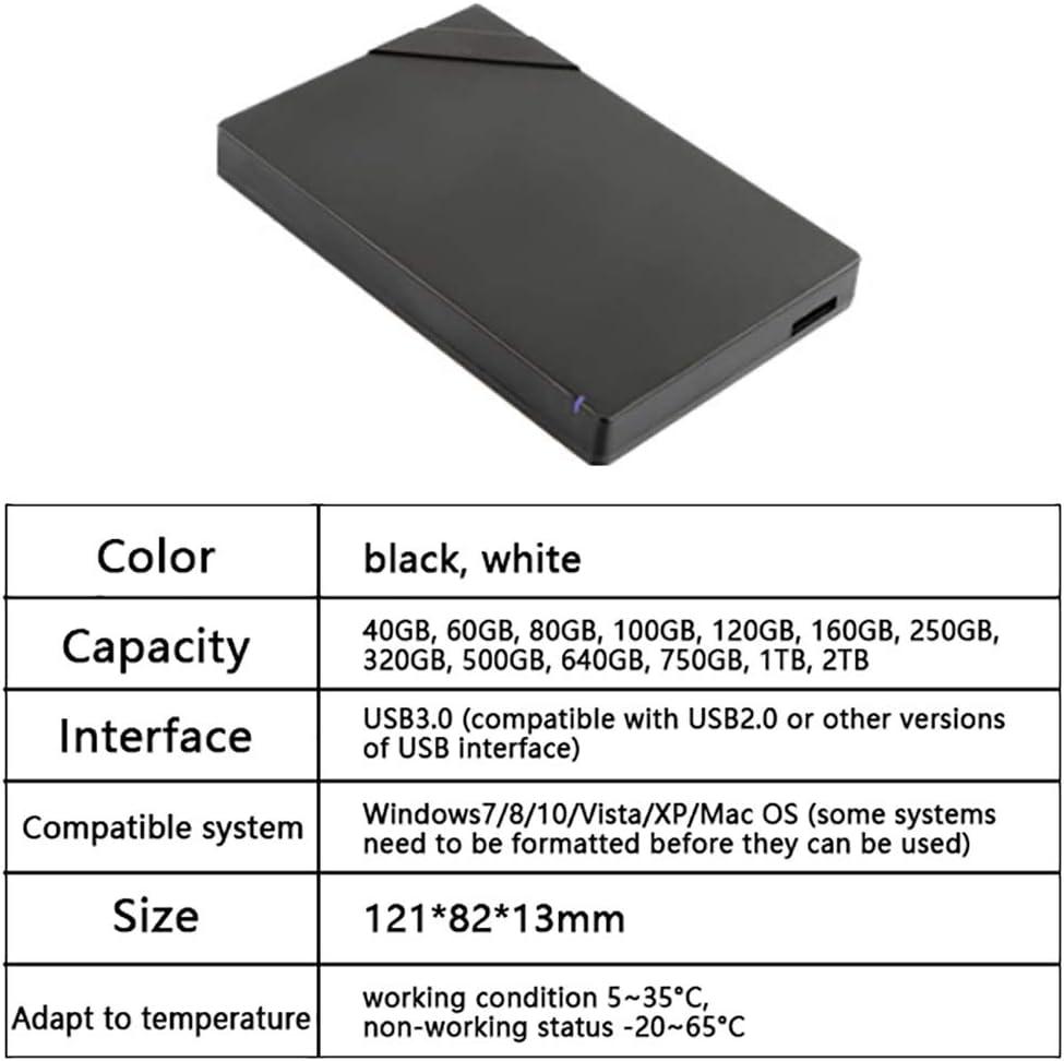 Color : White, Size : 1TB QTT Hard Disk 160GB//250GB//320GB//500GB//640GB//750GB//1TB//2TB Large Memory Mobile High-Speed Transmission USB3.0 Hard Drive