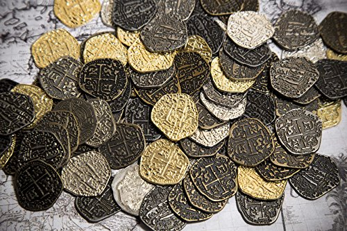 Beverly Oaks Metal Pirate Coins - 100 Gold and Silver Spanish Doubloon Replicas - Fantasy Metal Coin Pirate Treasure - Gold, Silver, Antique and Rustic Style Finishes -