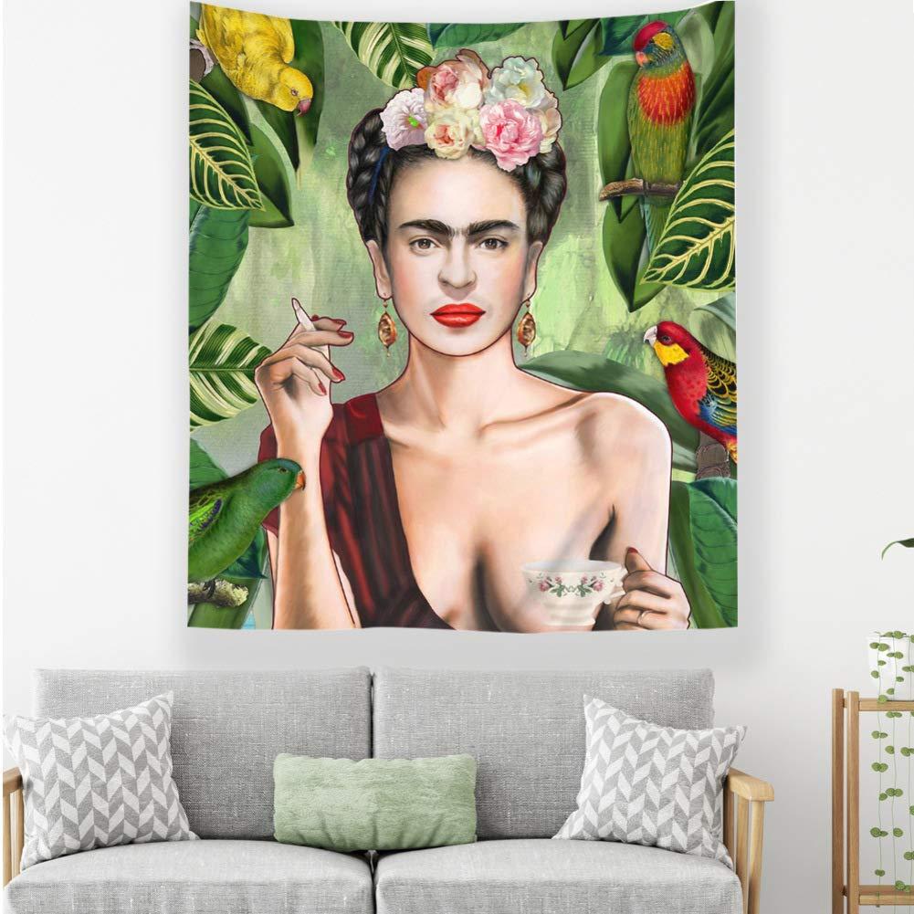 Les Femmes Fumantes avec Le Caf/é Mexico Femmes Peintre Mural Tapisserie Figure Portrait D/écor D/écor Dortoir-a 200 79x59inch Frida Kahlo Et Tapisserie De Fleurs 150cm