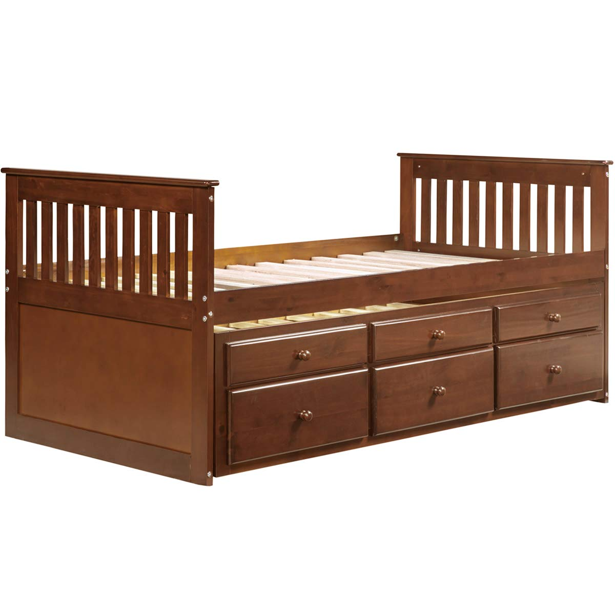 Amazoncom Captains Platform Storage Bed With Trundle Bed And