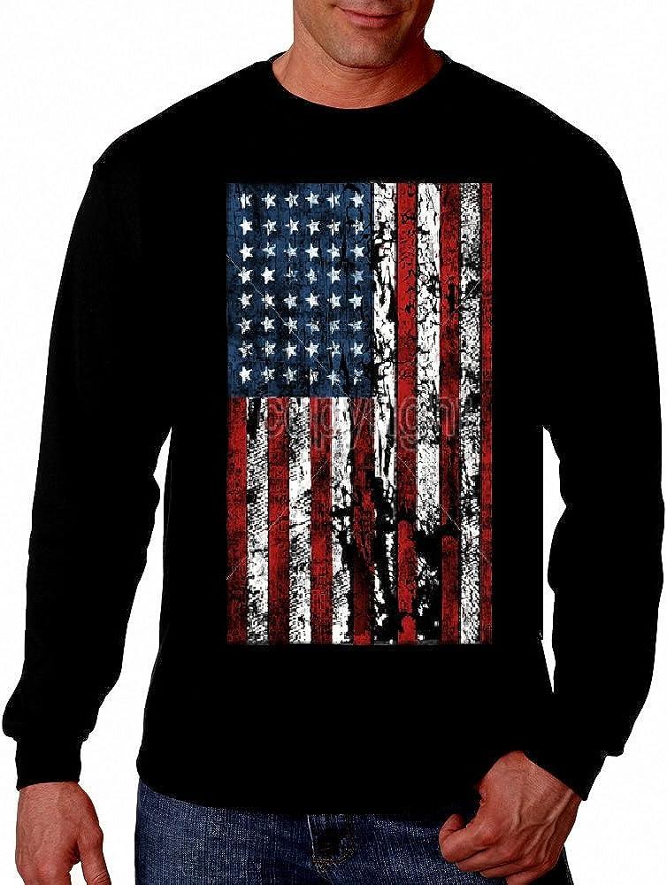 Ragged Flag Graphic Long Sleeve Vintage Patriotic USA Printed T Shirt Tee Shirt