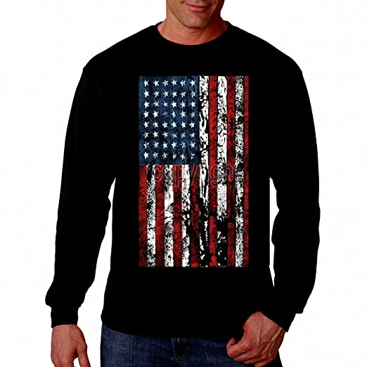 d0afe6b30 Amazon.com: American Flag Mens T-shirt Long sleeve Tee United States USA  Tattered Flag Tee: Clothing