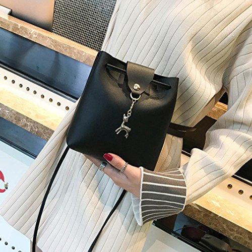 sac d'épaule en traversent des FemmeS cerfs femmes corps bandoulière avec de à sacs de en a petit Sacs en Noir garnitures métal Sac communs cuir zycShang de un Main Les cuir 0UPx7a