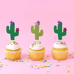 24Pcs Glittery Cupcake Topper Cactus Cake Decor Cinco De Mayo Party Mexican Fiesta Decor Baby Shower Birthday Party Decoration Supplies