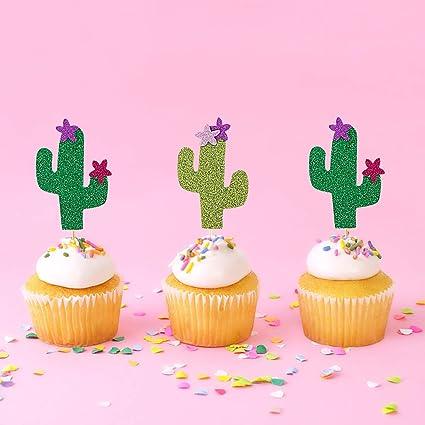 Amazon.com: 24 piezas de adornos para cupcakes con purpurina ...