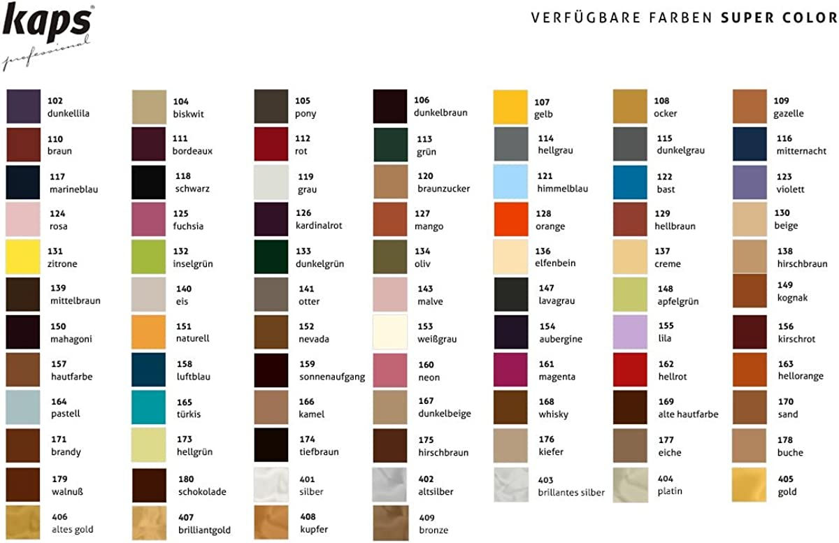 Kaps Tinte para Zapatos y Bolsos de Cuero y Textil con Esponja y Brocha, Super Color, 70 Colores