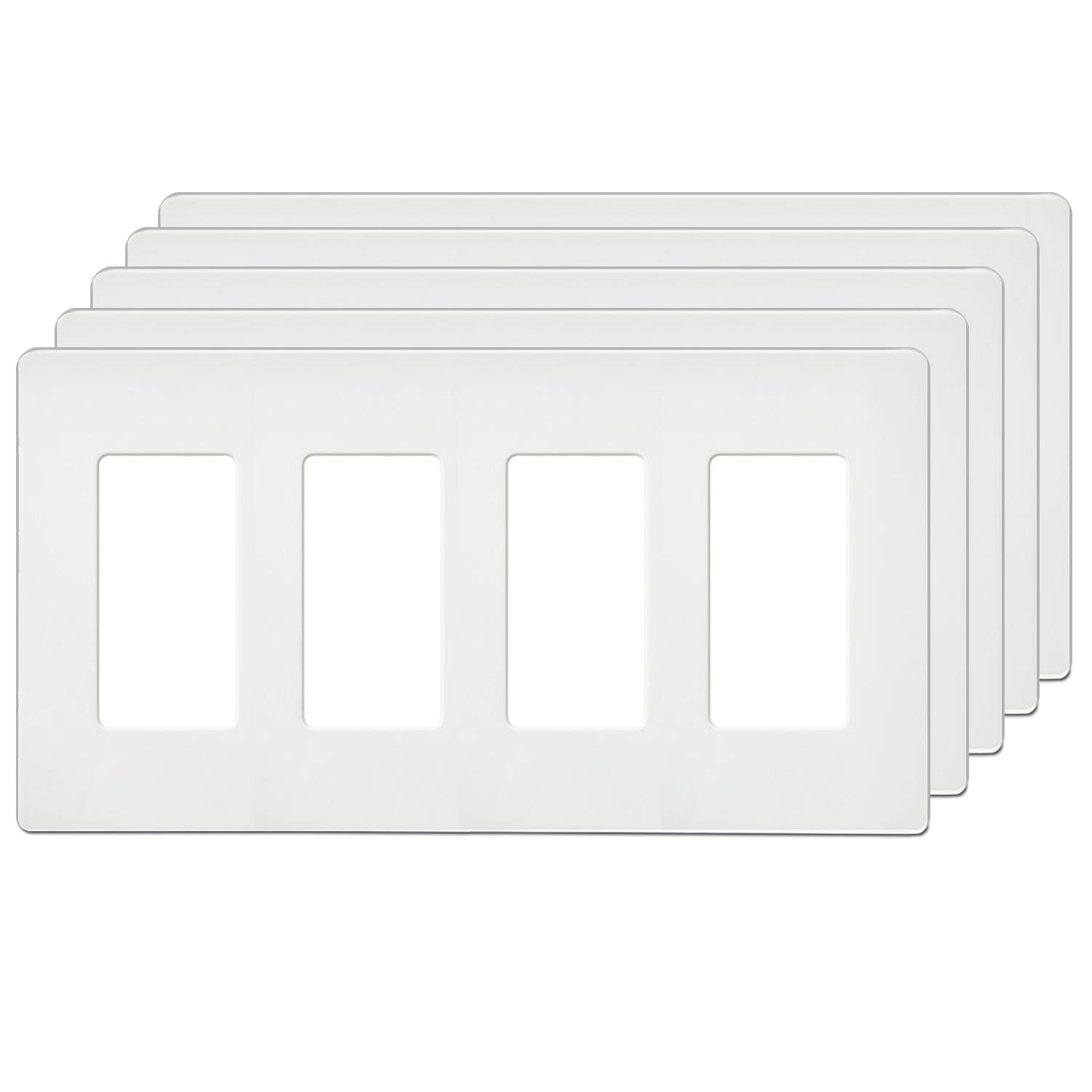 [5 Pack] BESTTEN Screwless Wall Plates, USWP4 Series, 4-Gang Outlet Covers for GFCI, Decorator Receptacle, Dimmer and Light Switch, Residential and Commercial Grade, UL Listed, White