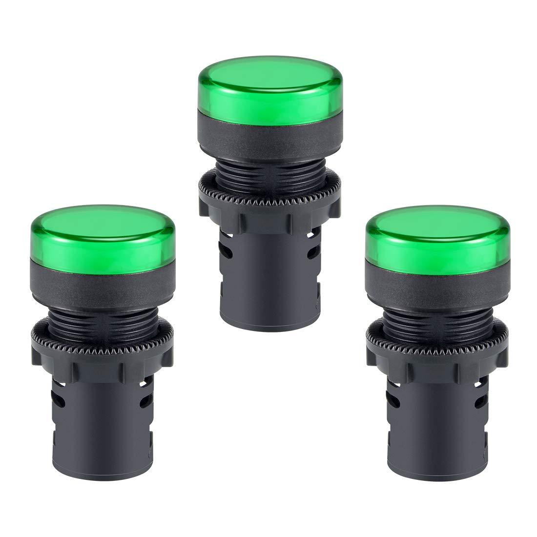 sourcing map feux signalisation AC 220V LED verte Mont/é panneau encastr/é 7//8 22mm 2pcs
