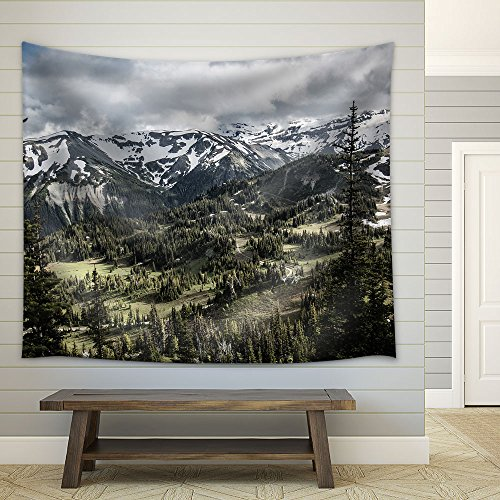 Nature Scenery Trees Mountain Peaks in the Background Fabric Wall