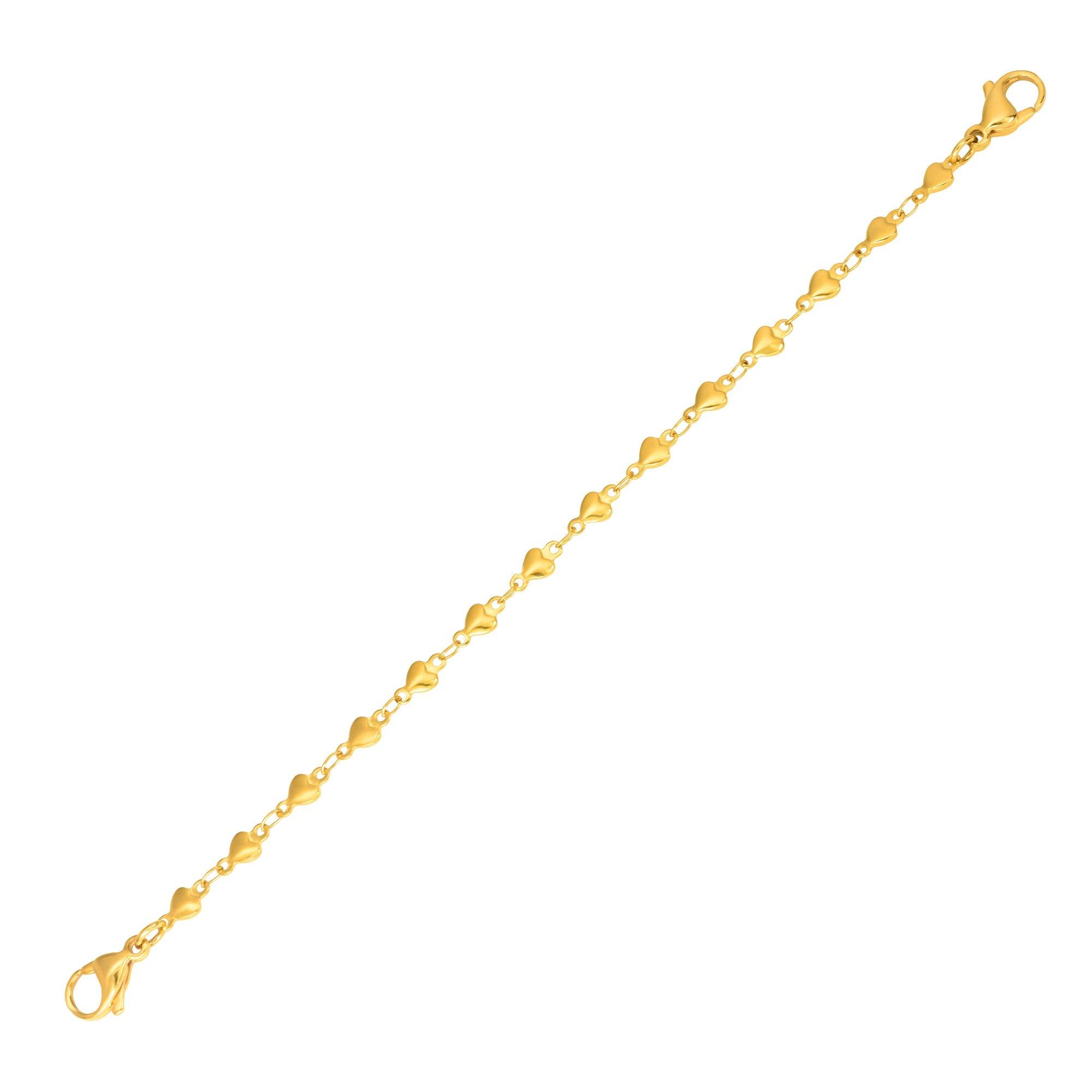 Divoti PVD Gold Heart Link Medical Alert Replacement Bracelet -5.0''