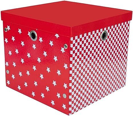 Jabadabado POP - Caja de almacenaje (32 x 32 x 28 cm), color rojo y blanco: Amazon.es: Bebé