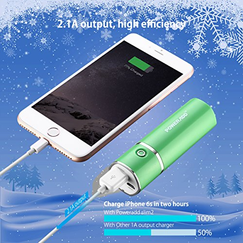 Poweradd Slim2 5000mAh transportable Charger potential Bank External Battery Pack for iPhone iPad Samsung and significantly more Green External Battery Packs