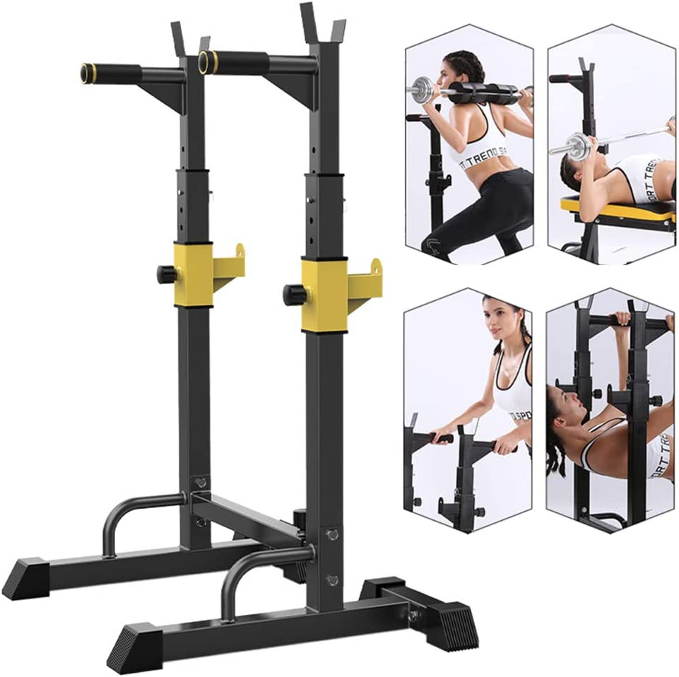 EFGS Adjustable Heavy Duty Squat Rack Stand Power Weight Bench Support, Multifunction Sturdy Durable