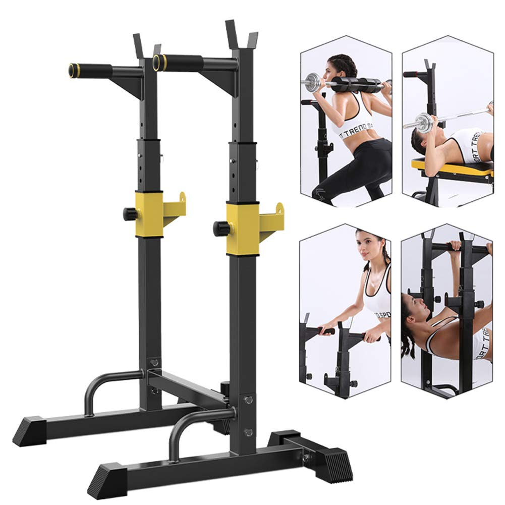 EFGS Adjustable Heavy Duty Squat Rack Stand Power Weight Bench Support, Multifunction Sturdy Durable by EFGS