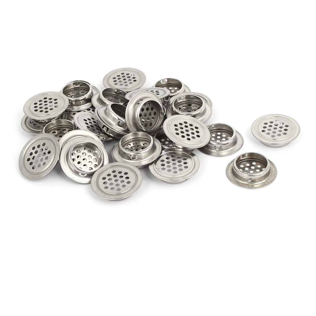 uxcell 28.5mm Bottom Dia Stainless Steel Round Shaped Mesh Hole Air Vent Louver 30pcs