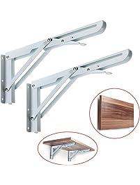 sumnacon sturdy folding shelf brackets heavy duty white metal triangle table bench folding shelf bracket