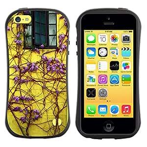 Fuerte Suave TPU GEL Caso Carcasa de Protección Funda para Apple Iphone 5C / Business Style Lilac Purple Vines House Window Yellow