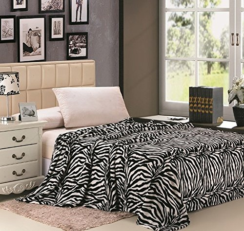 Safari Animal Print Ultra Soft Black & White Zebra Full Size Microplush Blanket