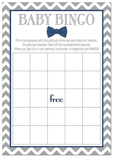 24 Bow Tie Baby Shower Bingo Cards   Littel Man Boy Baby Shower Game (Navy
