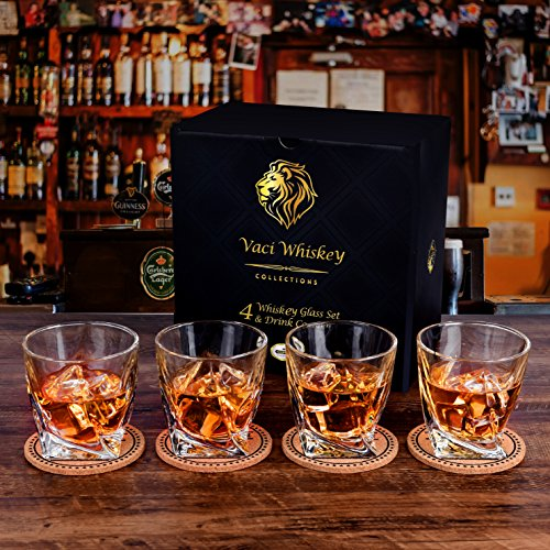 Twist Whiskey Glasses - Set of 4 - by Vaci + 4 Drink Coasters, Ultra Clarity Crystal Scotch Glass, Malt or Bourbon, Glassware Gift Set by Vaci Glass (Image #3)