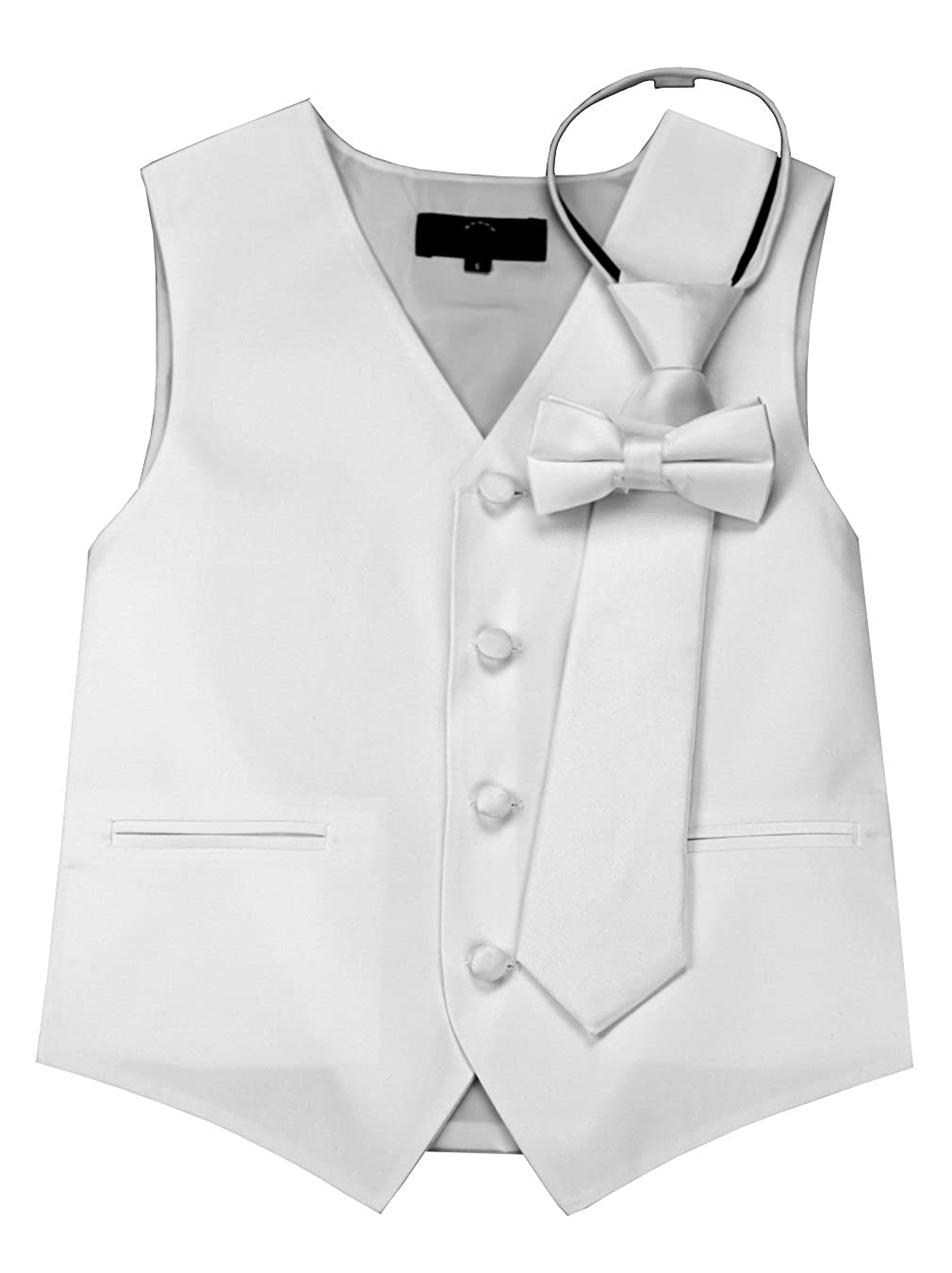 Brand Q Boy's Tuxedo Vest, Zipper Tie & Bow-Tie Set in White Brand Q Boy's Tuxedo Vest B10A