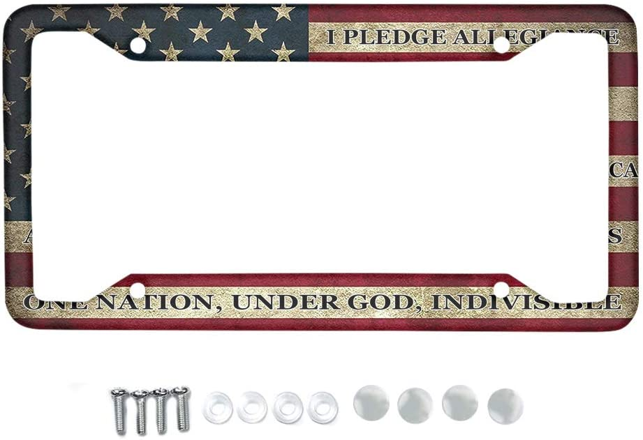 HUGS IDEA Auto Decorative Frames Retro American Flag Pattern Metal License Plate Frame for Women//Men Cars Protector Cover Holder for US Vehicles