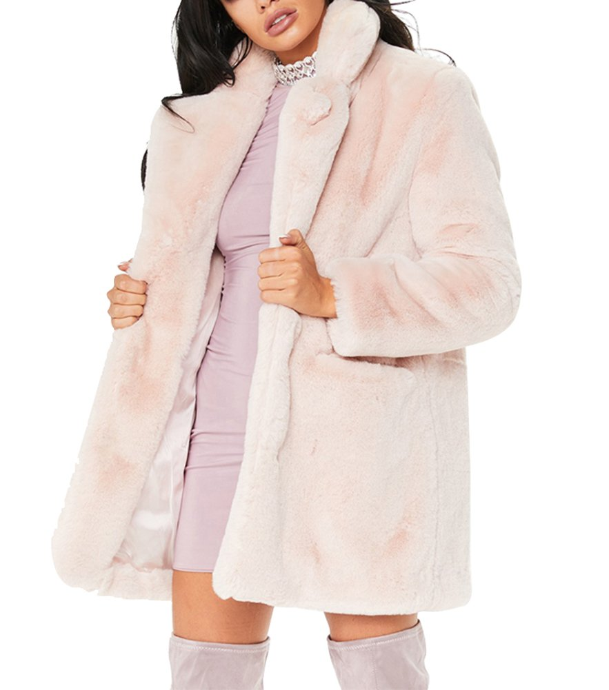 Mojessy Women's Faux Fur Coat Winter Warm Thick Overcoat Outwear Jacket X-Large Pink