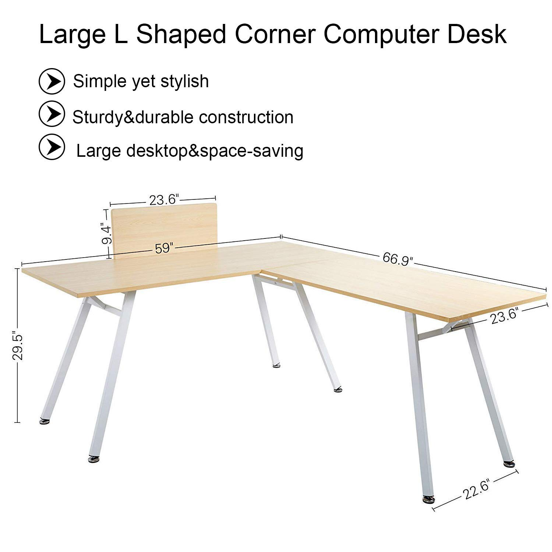 KARMAS PRODUCT Large L Shaped Desk, 67 x 59 Corner Computer Desk PC Laptop Study Writing Table Workstation Gaming Table,Wood Metal Home Office Furniture,Oak White