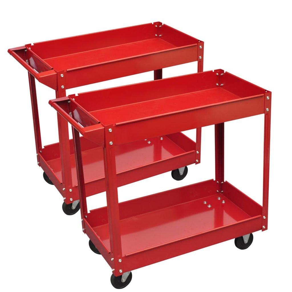 vidaXL 2 x 2-Shelf Heavy Duty Workshop Garage Storage Tool & Parts Trolley Wheel Cart