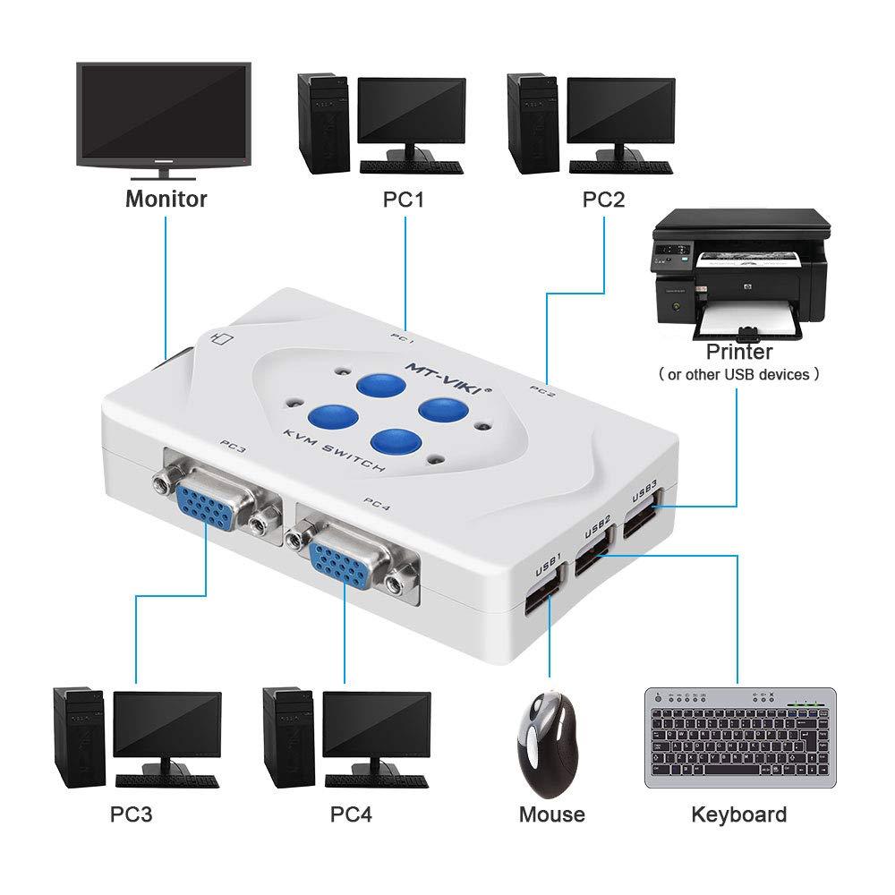 port/átil 1 controlador de conmutaci/ón de escritorio para PC port/átil esc/áner ELUTENG KVM USB VGA 4 Puertos KVM Switch Box con 4 VGA Cables mouse teclado impresora y m/ás