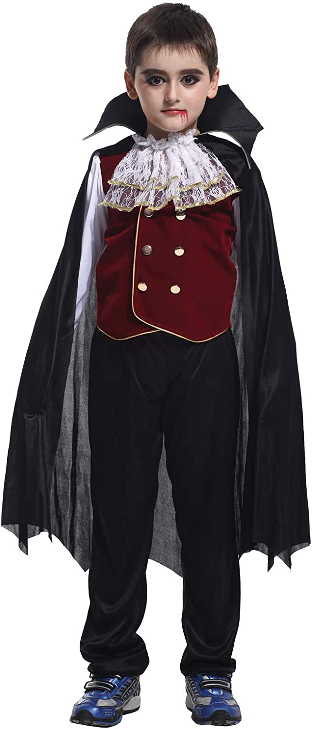 Binse Vampire Costume for Boys Kids Halloween Costumes Party Dress Up Clothes Cosplay